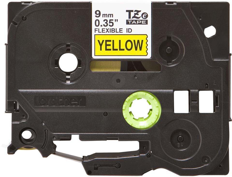Cassetta nastro per etichettatura originale Brother TZe-FX621 – Nero su giallo, 9 mm di larghezza