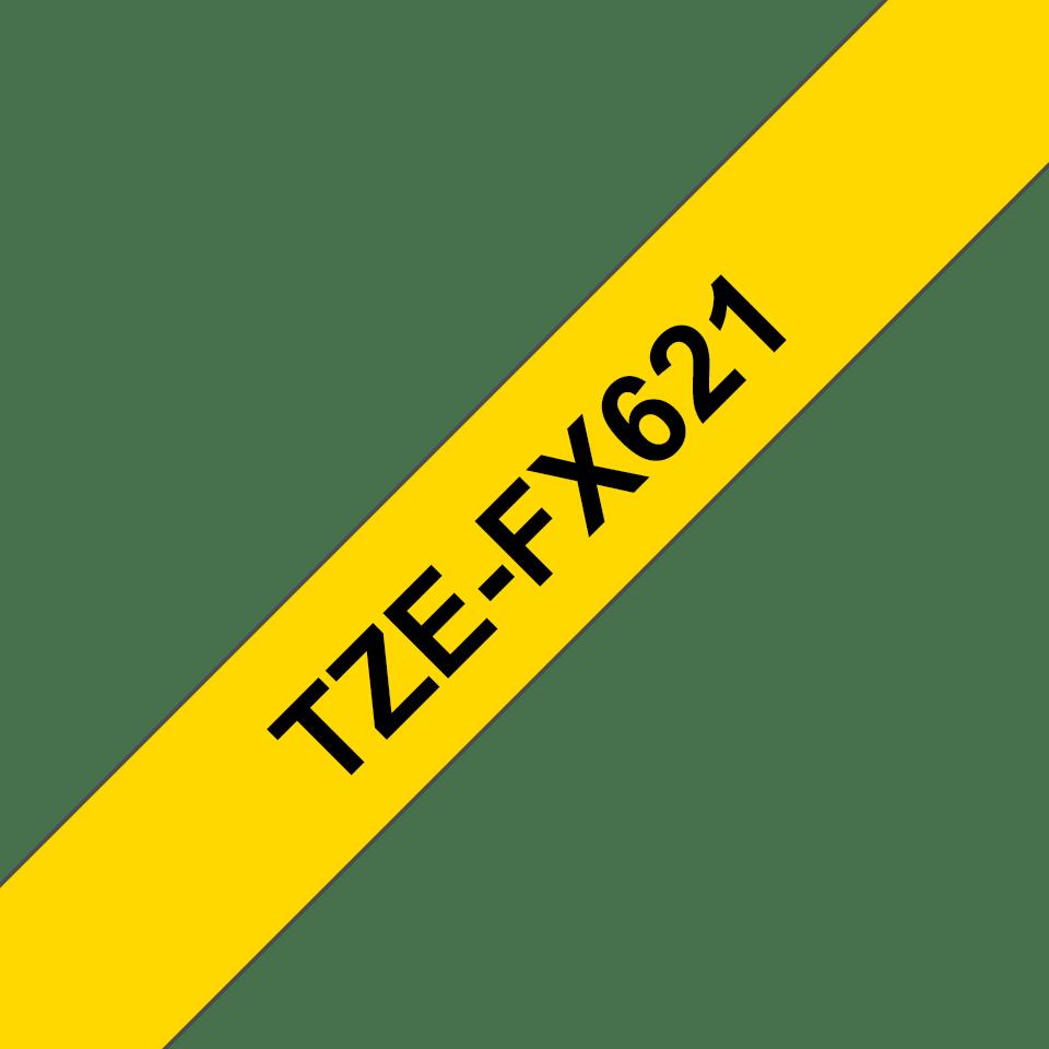 Cassetta nastro per etichettatura originale Brother TZe-FX621 – Nero su giallo, 9 mm di larghezza 3