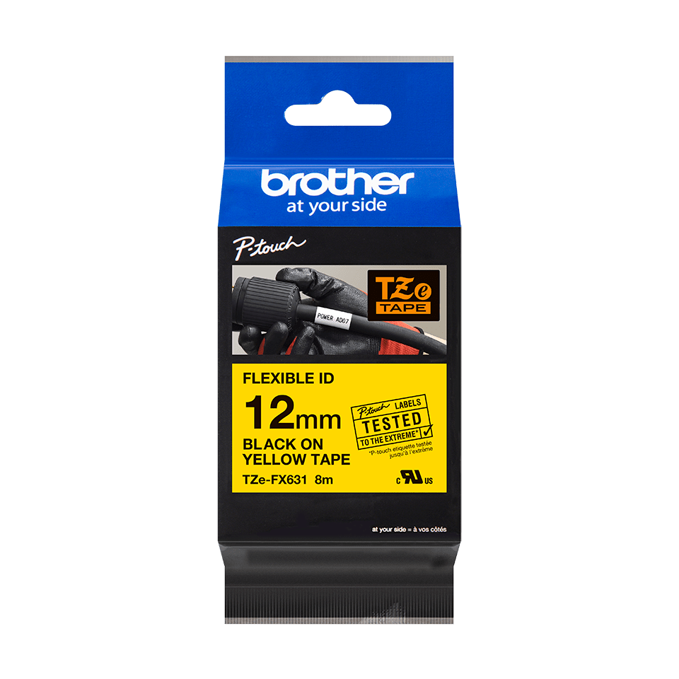 Brother TZe-FX631 Nastro originale flessibile da 12 mm - nero su giallo 1