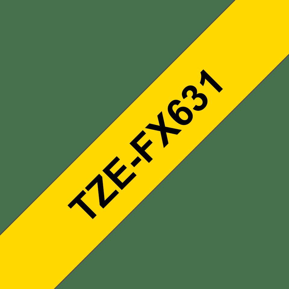 Brother TZe-FX631 Nastro originale flessibile da 12 mm - nero su giallo 2