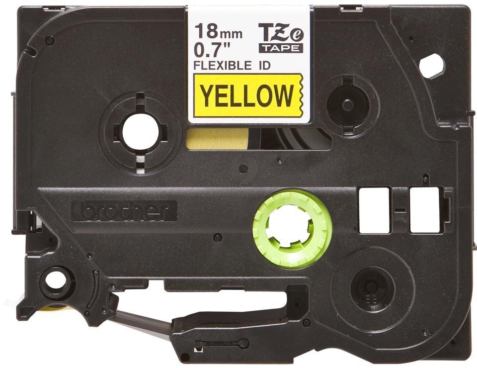 Cassetta nastro per etichettatura originale Brother TZe-FX641 – Nero su giallo, 18 mm di larghezza
