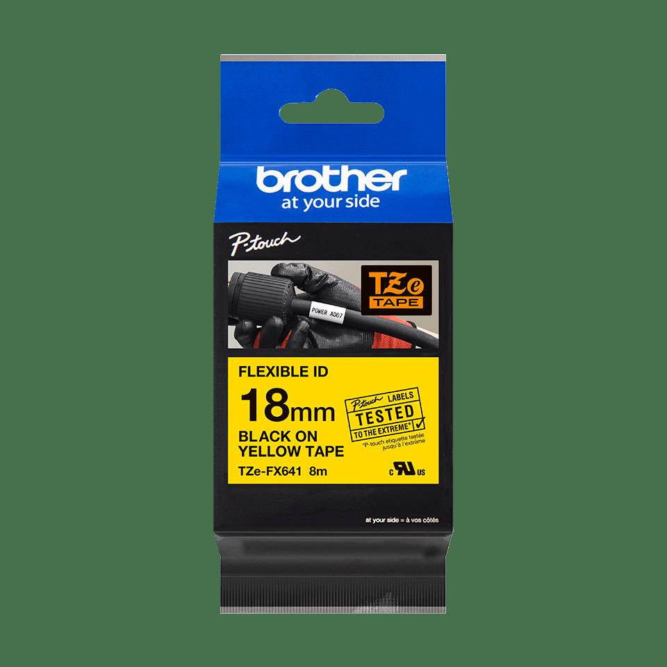 Cassetta nastro per etichettatura originale Brother TZe-FX641 – Nero su giallo, 18 mm di larghezza 2