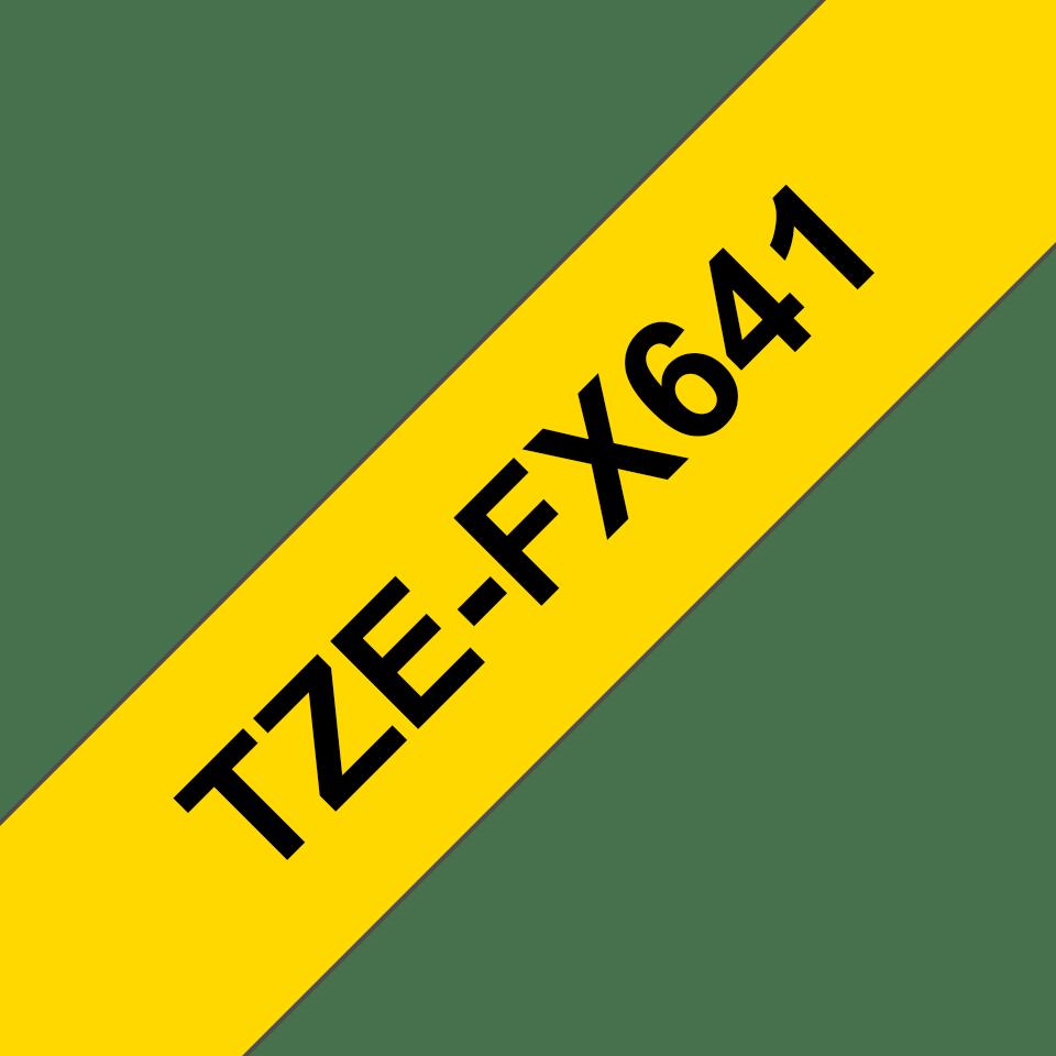Cassetta nastro per etichettatura originale Brother TZe-FX641 – Nero su giallo, 18 mm di larghezza 3