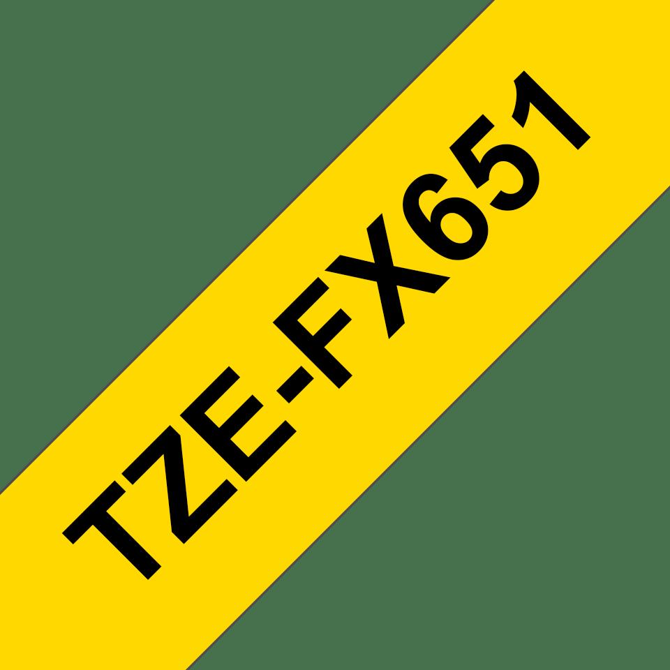 Nastro identificativo flessibile originale Brother TZe-FX651 – Nero su giallo, 24 mm di larghezza 3