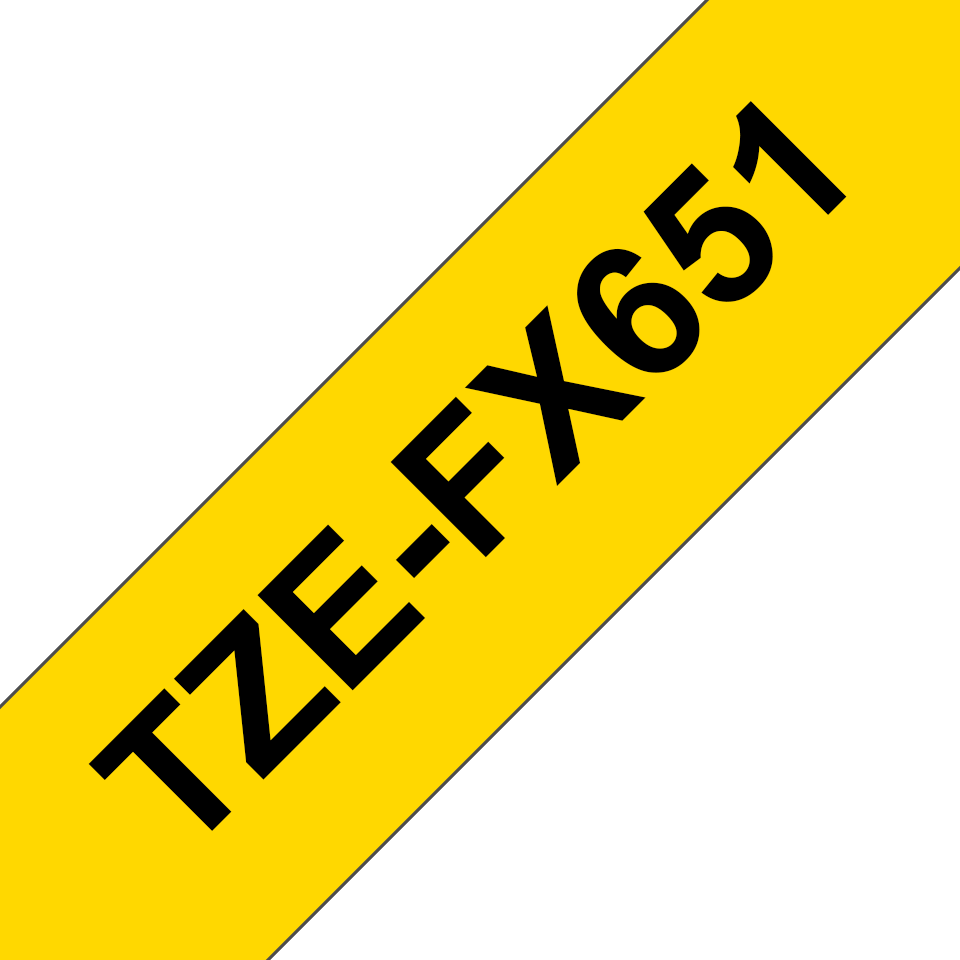 Nastro identificativo flessibile originale Brother TZe-FX651 – Nero su giallo, 24 mm di larghezza 3