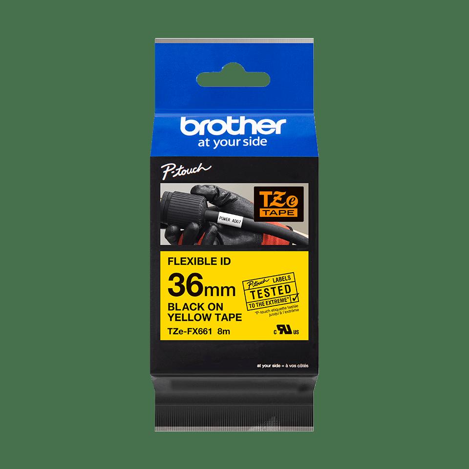 Cassetta nastro per etichettatura originale Brother TZe-FX661 – Nero su giallo, 36 mm di larghezza 2