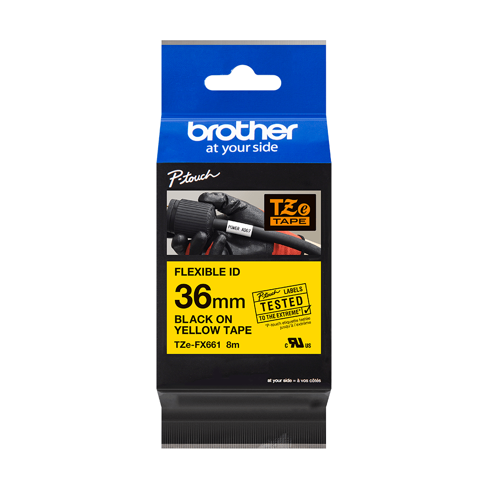 Cassetta nastro per etichettatura originale Brother TZe-FX661 – Nero su giallo, 36 mm di larghezza 1