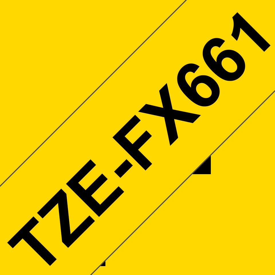 Cassetta nastro per etichettatura originale Brother TZe-FX661 – Nero su giallo, 36 mm di larghezza 3