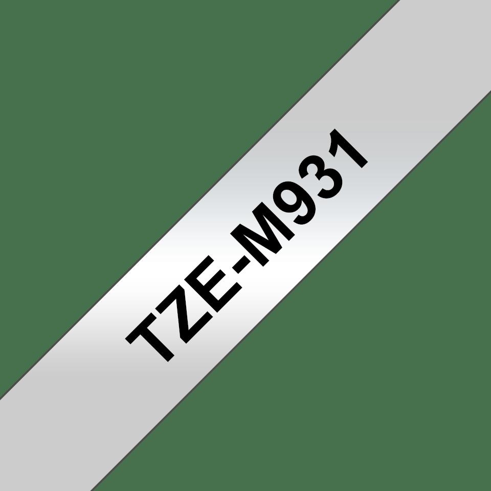 Cassetta nastro per etichettatura originale Brother TZe-M931 – Nero su argento opaco, 12 mm di larghezza 3