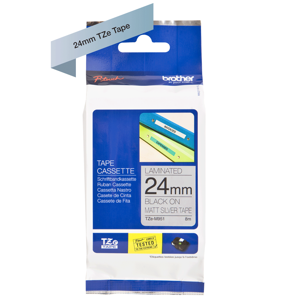 Cassetta nastro per etichettatura originale Brother TZe-M951 – Nero su argento opaco, 24 mm di larghezza 1