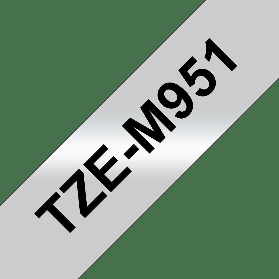 Brother TZe-M951 Nastro metallico originale da 24 mm - nero su argento opaco 3