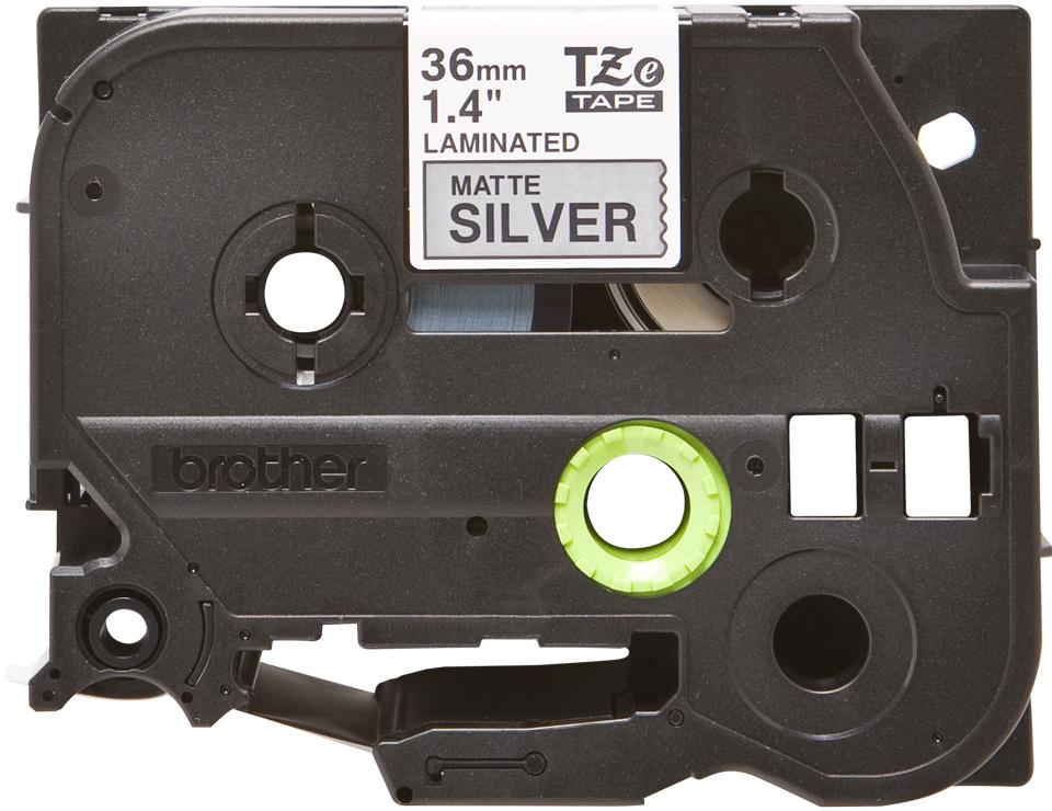 Brother TZe-M931 Nastro metallico originale da 36 mm - nero su argento opaco