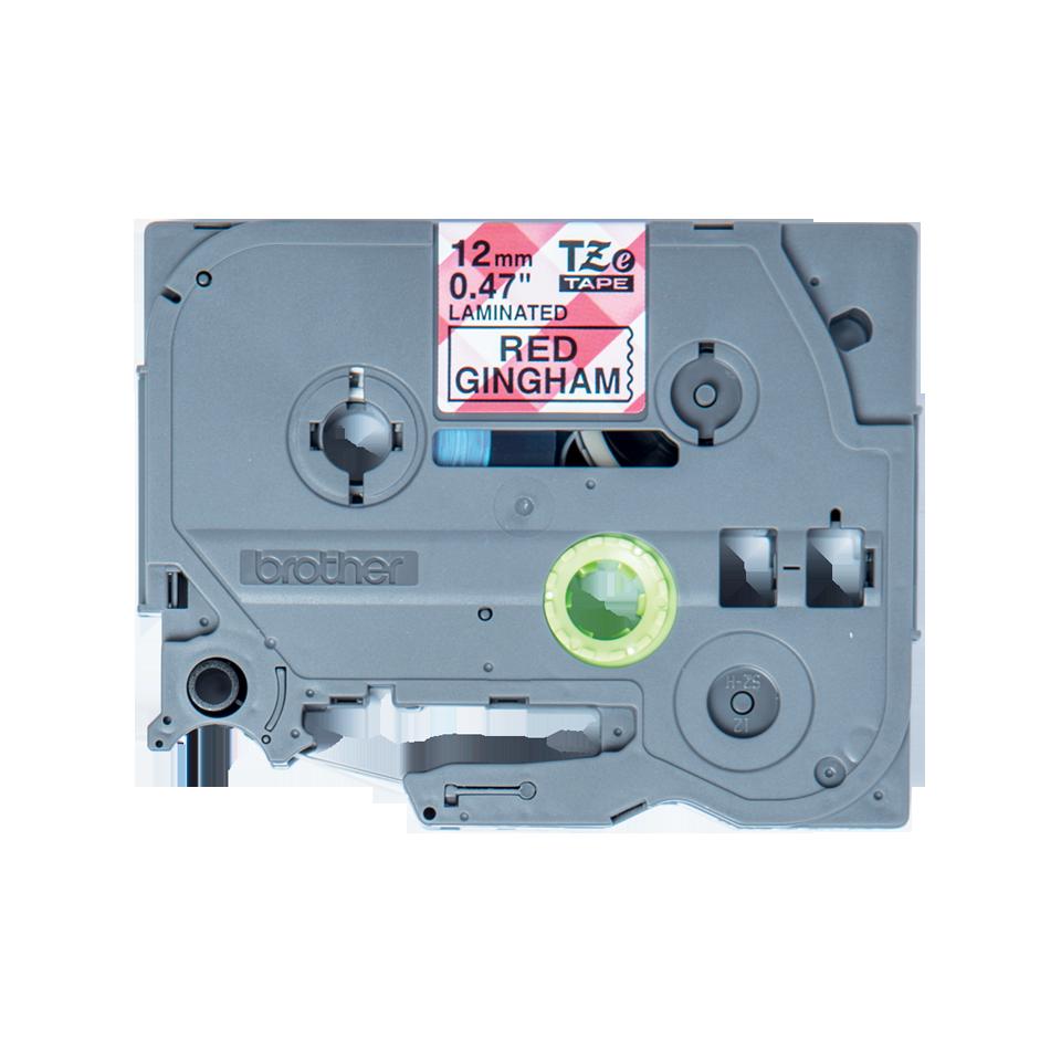 Brother TZe-MPRG31 Nastro originale - laminato, nero su motivo a quadretti rosso, 12 mm di larghezza