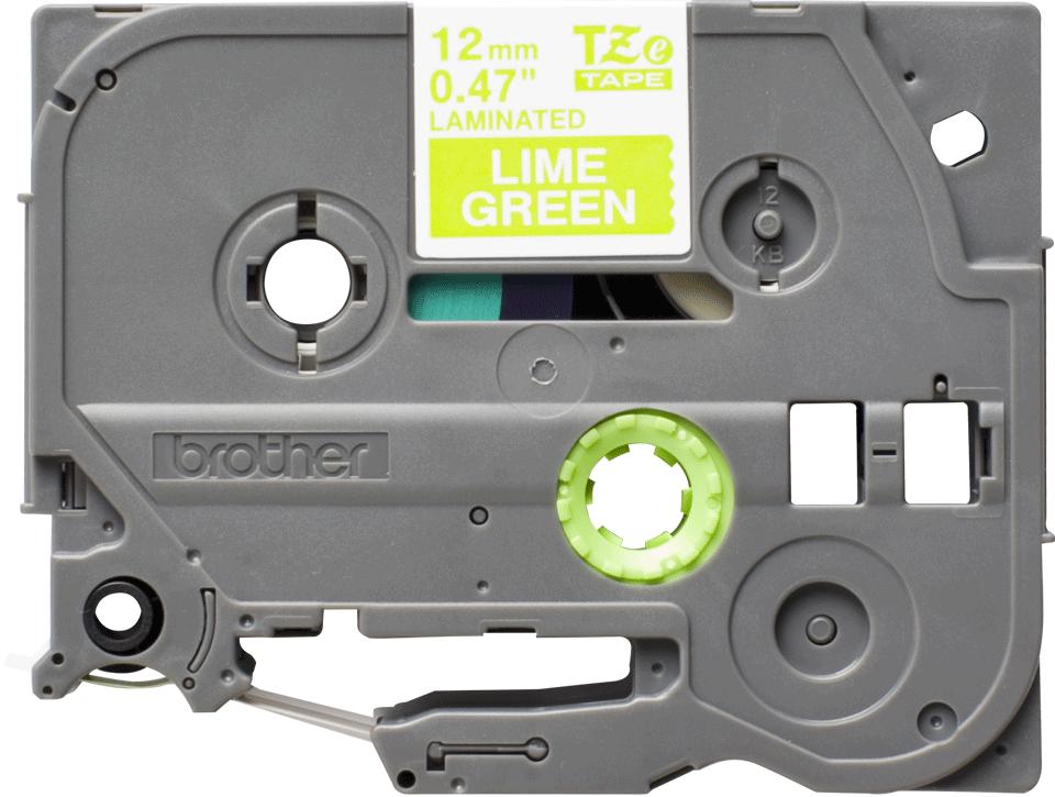 Cassetta nastro per etichettatura originale Brother TZe-MQG35 – Bianco su verde acido, 12 mm di larghezza