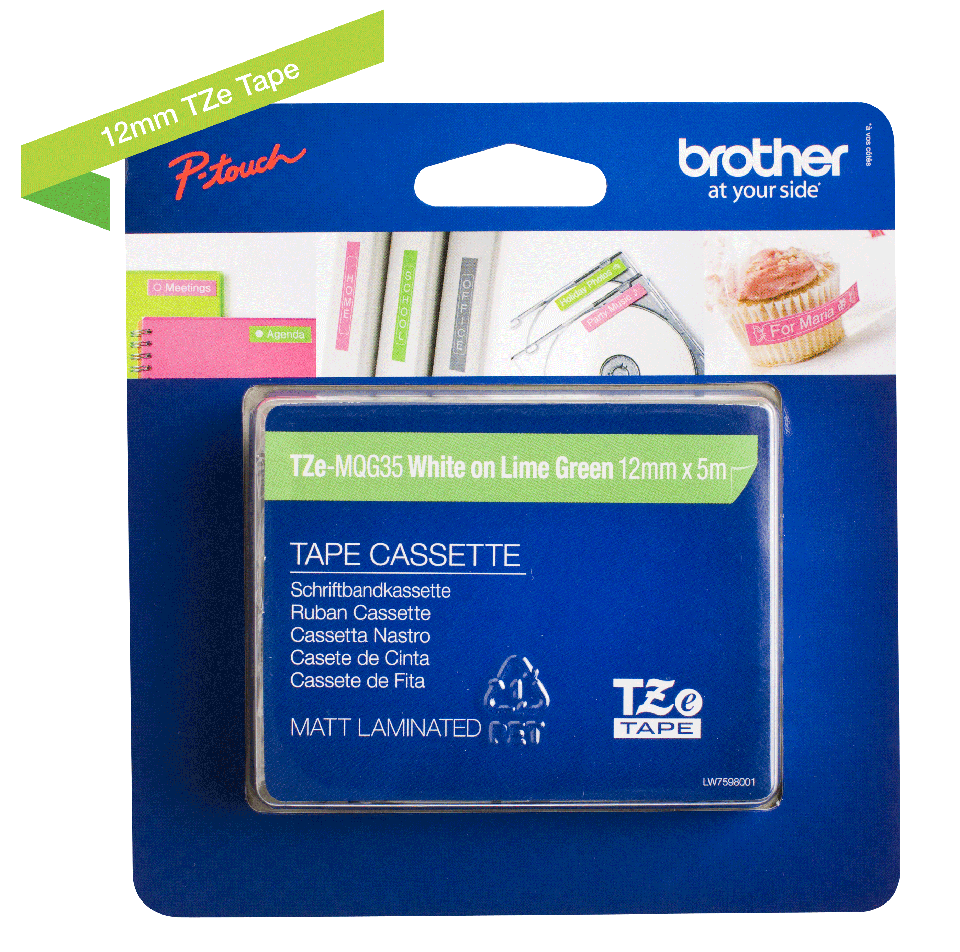Cassetta nastro per etichettatura originale Brother TZe-MQG35 – Bianco su verde limone, 12 mm di larghezza 2
