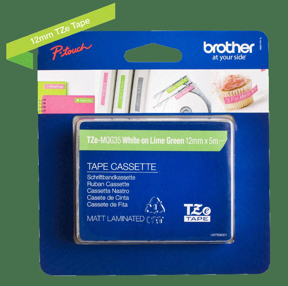 Cassetta nastro per etichettatura originale Brother TZe-MQG35 – Bianco su verde limone, 12 mm di larghezza 1