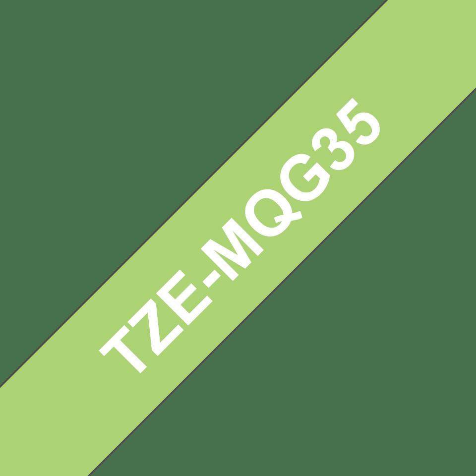 Cassetta nastro per etichettatura originale Brother TZe-MQG35 – Bianco su verde acido, 12 mm di larghezza 3