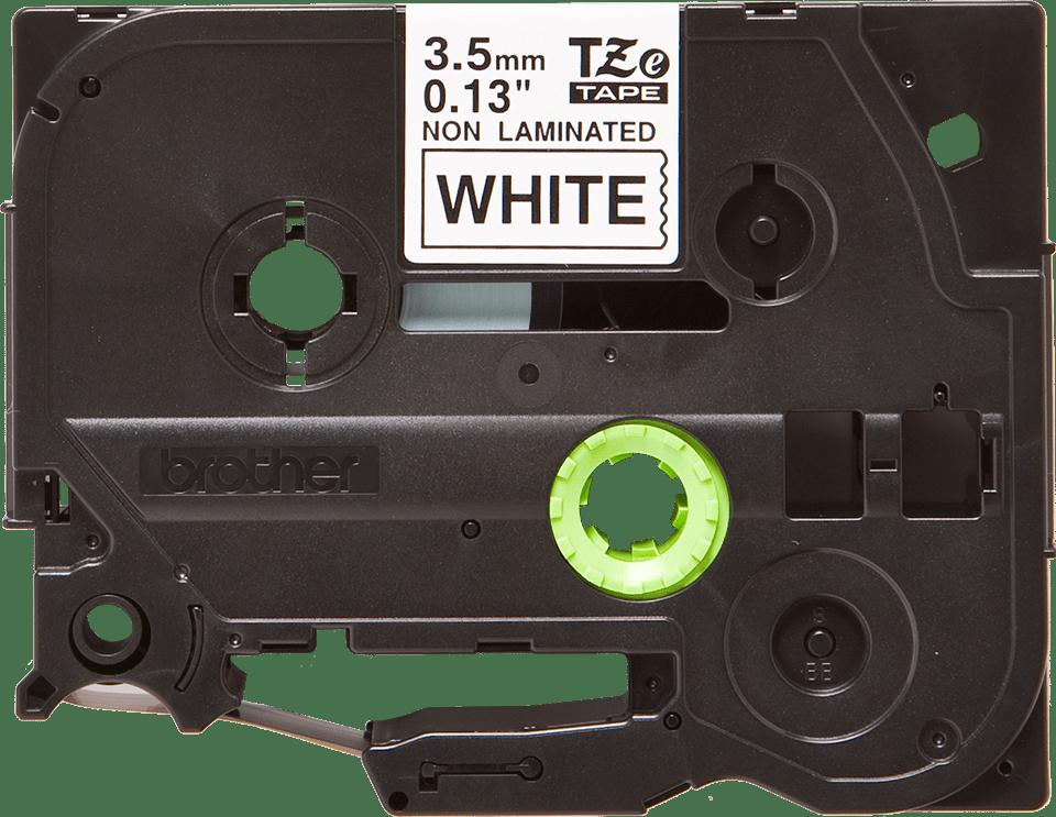 Cassetta nastro per etichettatura originale Brother TZe-N201 – Nero su bianco, 3,5 mm di larghezza