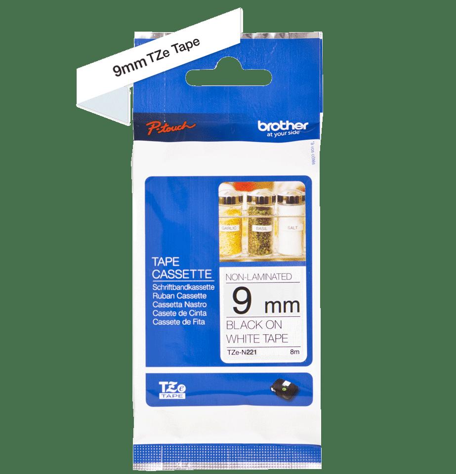 Cassetta nastro per etichettatura originale Brother TZe-N221 – Nero su bianco, 9 mm di larghezza 2