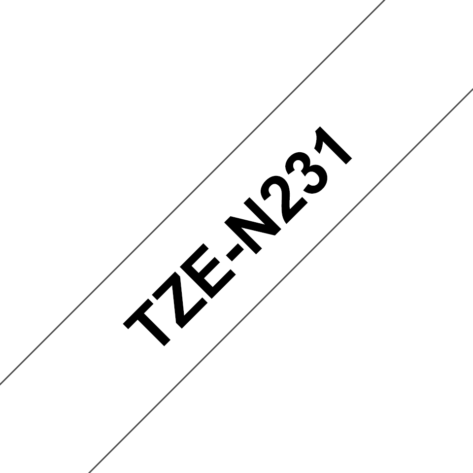 Cassetta nastro per etichettatura originale Brother TZe-N231 – Nero su bianco, 12 mm di larghezza 3