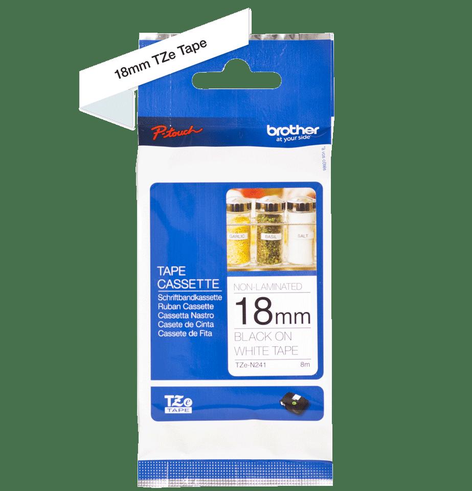 Cassetta nastro per etichettatura originale Brother TZe-N241 – Nero su bianco, 18 mm di larghezza 2