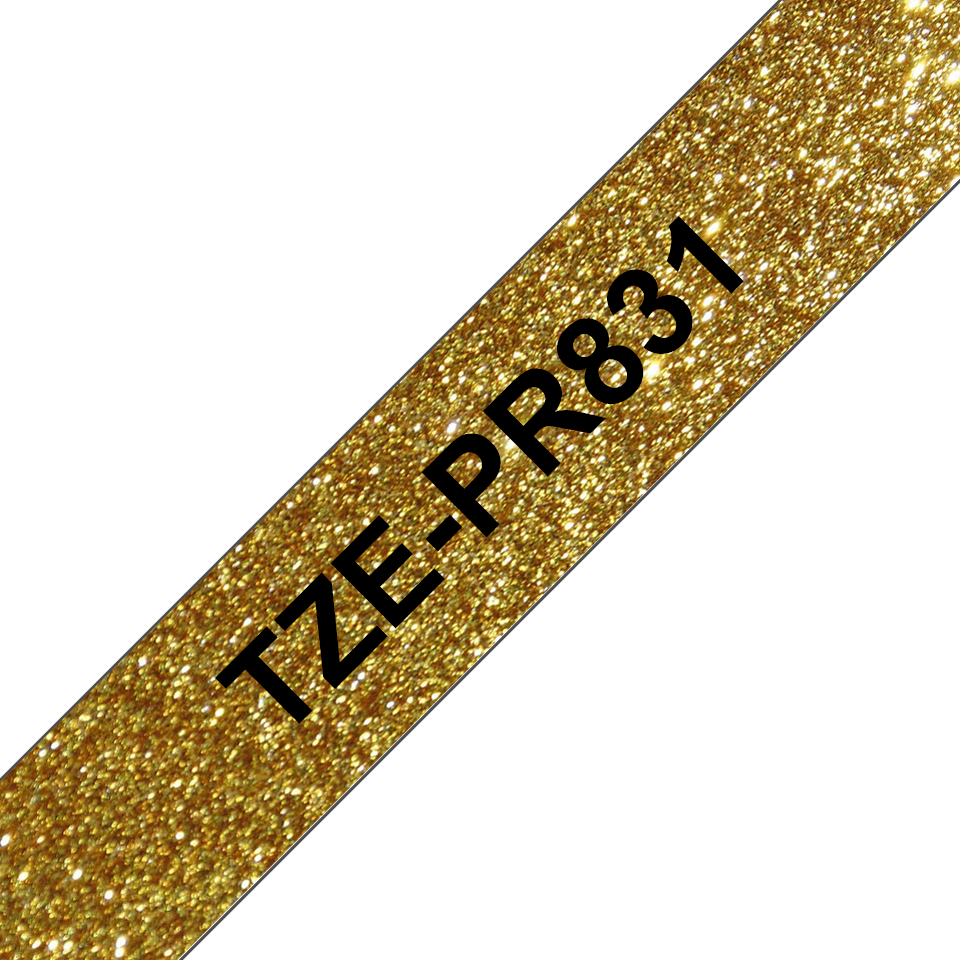 Brother TZe-PR831 Nastro originale - nero su oro glitter Premium, 12 mm di larghezza 3