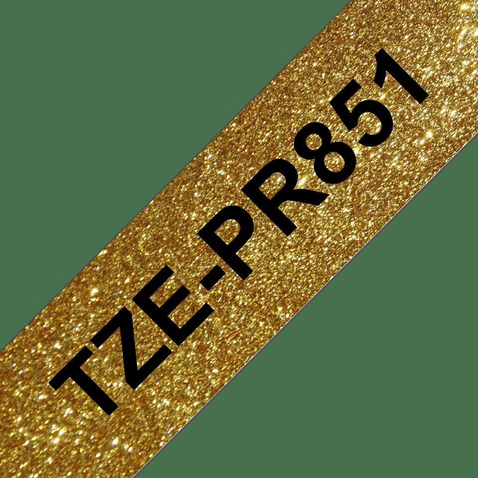 Brother TZe-PR851 Nastro originale - nero su oro glitter Premium, 24 mm di larghezza 3