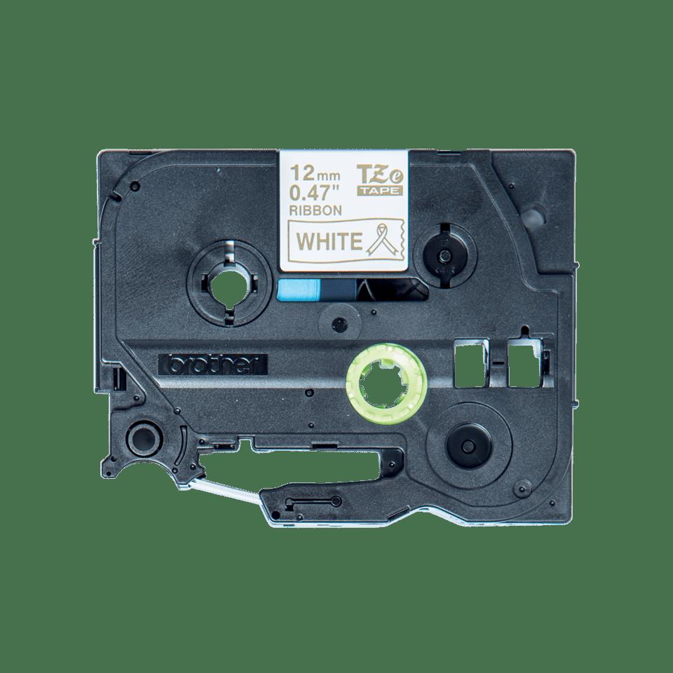 Cassetta nastro in tessuto originale Brother TZe-R234 – Oro su bianco, 12 mm di larghezza
