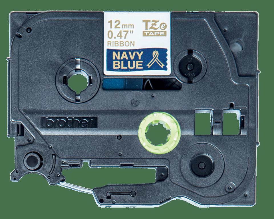 Nastro in tessuto per etichettatura originale Brother TZe-RN34 – Oro su blu marino, 12 mm di larghezza 1