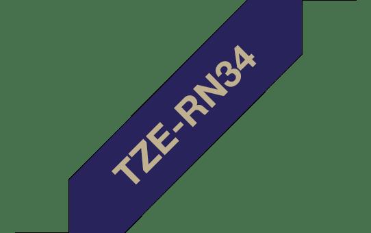 Brother TZe-RN34 Nastro originale in tessuto – Oro su blu marino, 12 mm di larghezza 3