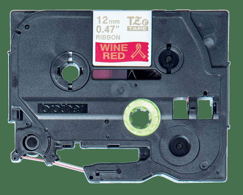 Cassetta nastro in tessuto originale Brother TZe-RW34 – Oro su rosso vino, 12 mm di larghezza
