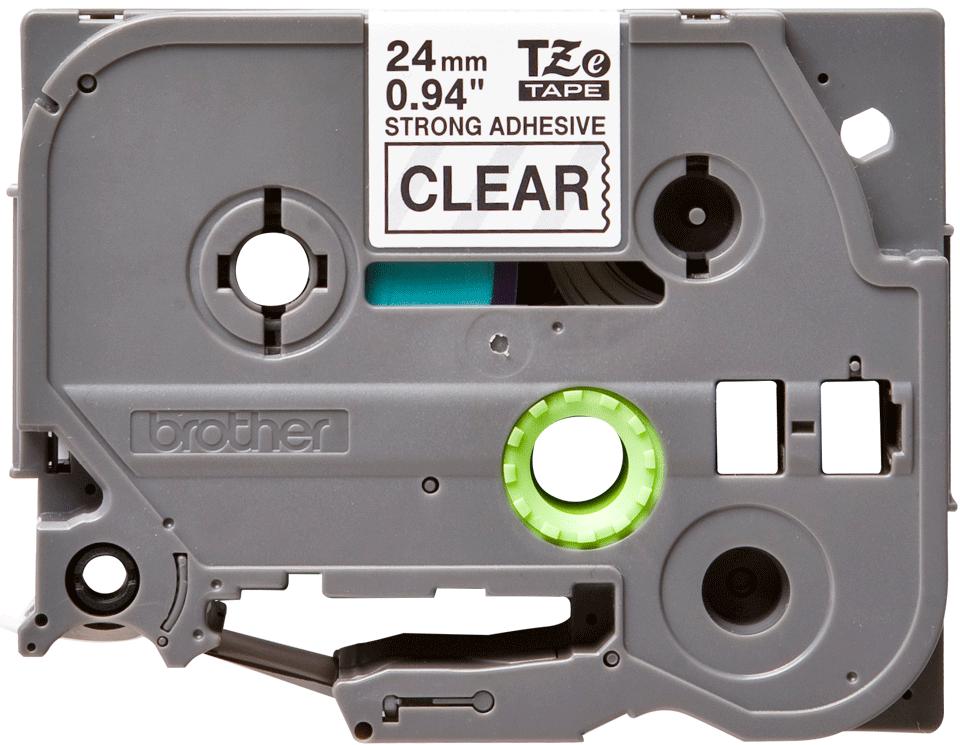 Cassetta nastro per etichettatura originale Brother TZe-S151 – Nero su trasparente, 24 mm di larghezza 0