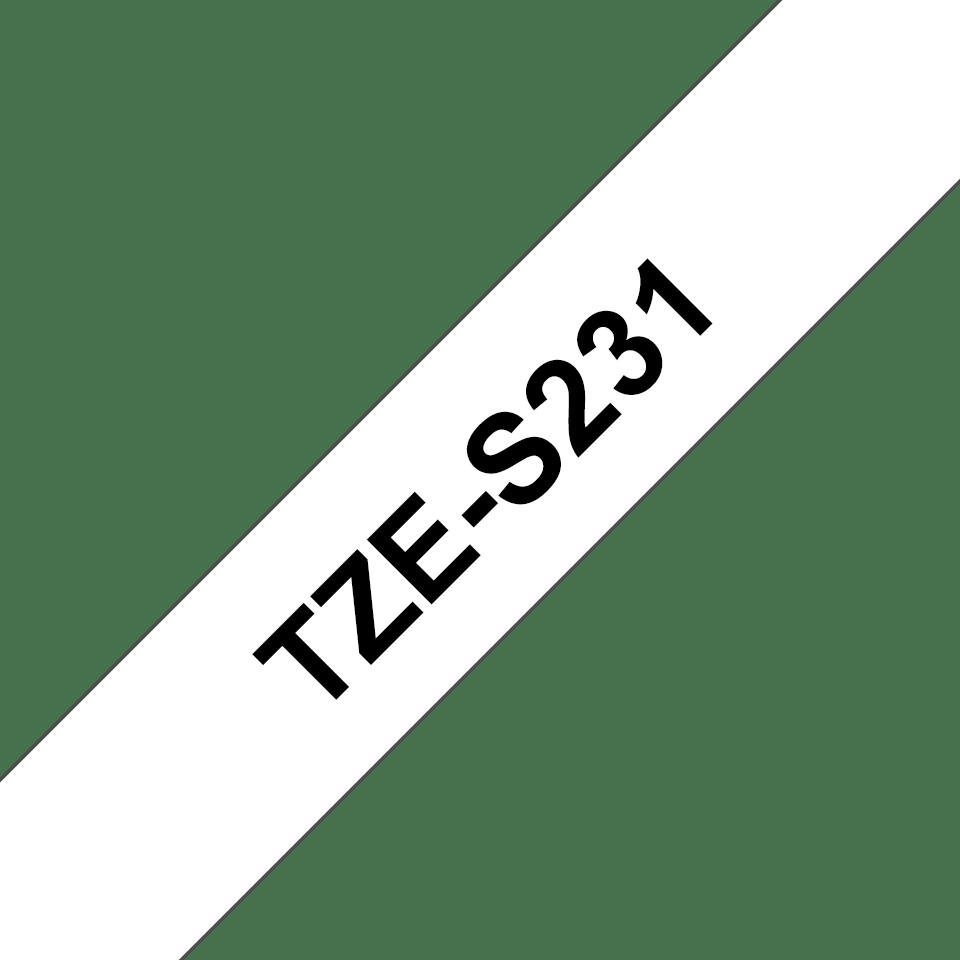 Cassetta nastro per etichettatura originale Brother TZe-S231 – Adesivo forte nero su bianco, 12 mm di larghezza 3