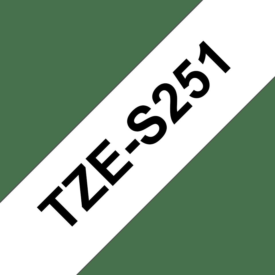 Cassetta nastro per etichettatura originale Brother TZe-S251 – Nero su bianco, 24 mm di larghezza 3
