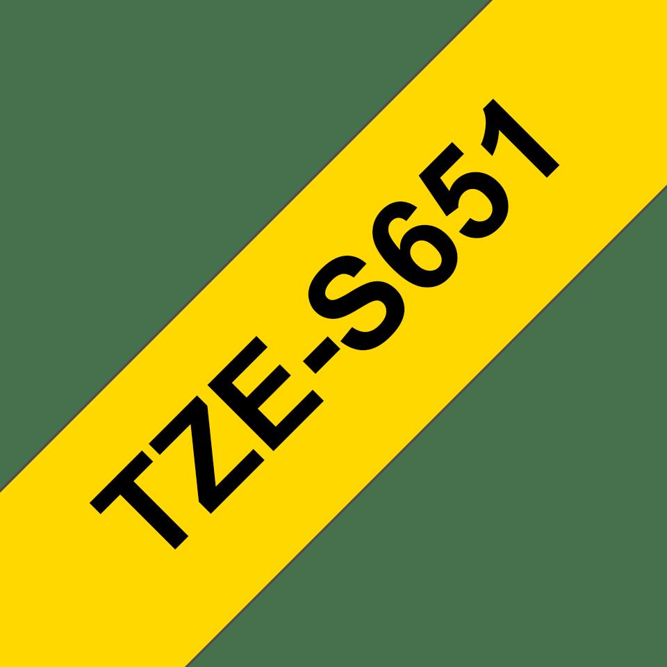 Cassetta nastro per etichettatura originale Brother TZe-S651 – Nero su giallo, 24 mm di larghezza 3