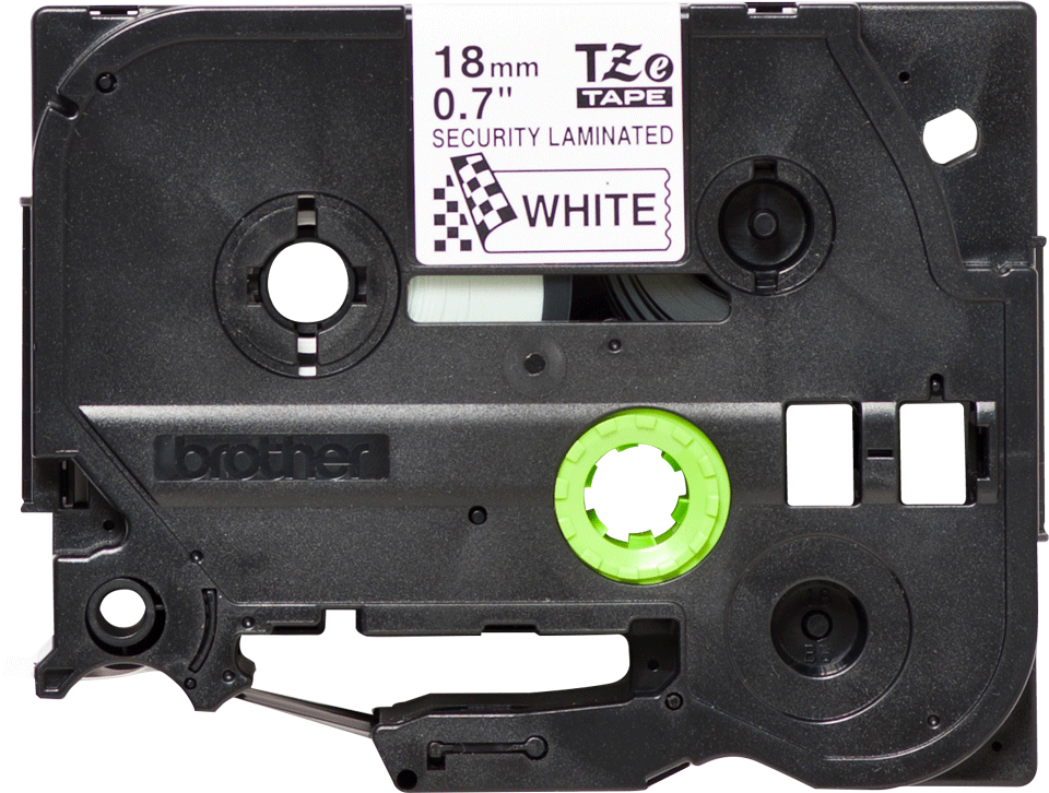Cassetta nastro per etichettatura originale Brother TZe-SE4 – Nero su bianco, 18 mm di larghezza